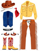 Cowboy clothes on white. — Stock Vector