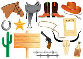Cowboy elements. — Stock Vector