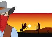 Vector cowboy .Bandit — Stock Photo