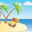 Vector treasure chest and island — Stock Photo