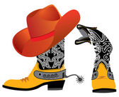 Vector hat and shoes for cowboy — Stock Photo