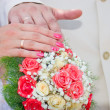 Royalty-Free Stock Photo: Wedding bouquet, hands and rings