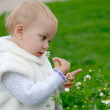 Child smelling a camomile — Stock Photo
