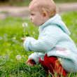 Child and dandelion — Stock Photo