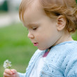 Sweet baby holding dandelion — Stock Photo #1220348