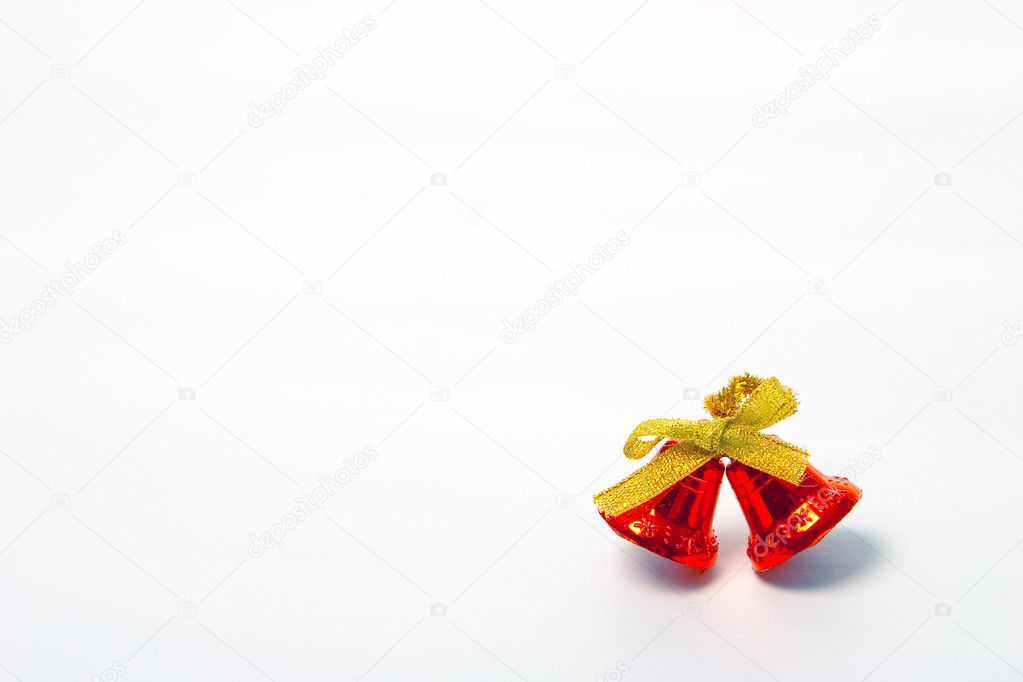 Red christmas bells on white background  Stock Photo #1220851
