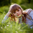 Stock Photo: Beautiful woman in grass