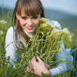 Woman sitting among spring flowers — Stock Photo