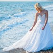 Bride on sea coast - Stock Photo