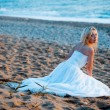 Bride at beach — Stock fotografie