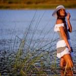 Girl in lake — Stock Photo #1245545