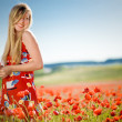 Laughing woman in poppy field - Stock Photo