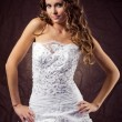Stock Photo: Fashion model wearing wedding dress