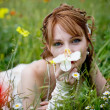Stock Photo: Beautiful girl in grass