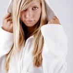 Girl wearing white hoodie — Stock Photo #1246628