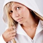 Teenage girl wearing white hoodie — Stock Photo #1246685