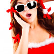 Surprised mrs. Santa — Stock Photo