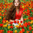 Woman in tulips — Stock fotografie