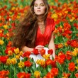 Woman in tulips — Stock Photo