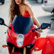 Beautiful girl on motorcycle — Stock fotografie