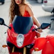 belle fille sur la moto — Photo