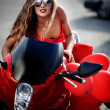 Fashion model on motorcycle — ストック写真