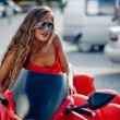 Fashion model on motorcycle — Foto de Stock