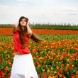 Woman in tulips field — Stock Photo