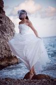 Bride at sea coast — Stock Photo