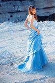 Fashion model in evening dress — Stock Photo