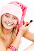 Beautiful Santa helper — Stock Photo