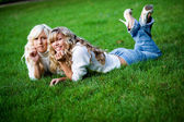 Two girls outdoors — Stock Photo
