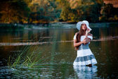 Sexy girl in lake — Stock Photo