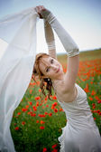 Beautiful bride with veil — Stock Photo