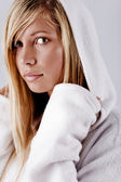 Girl in white hood — Stock Photo