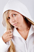 Teenage girl wearing white hoodie — Stock Photo