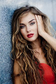 Model with red makeup — Stock Photo
