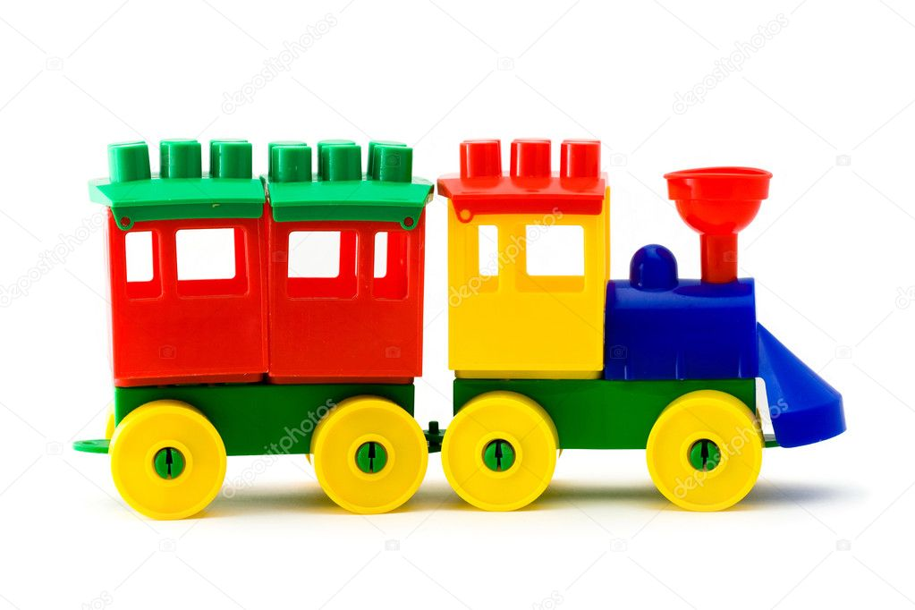 Colorful model train and one carridge on white background — Stock Photo #1158005