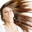 Woman with long brown hair - Stok fotoğraf