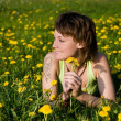 Dandelions glade — Stock Photo