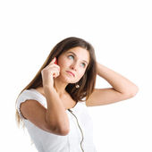 A woman speaking by mobile phone — Stock Photo