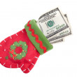 Money in mitten — Stock Photo