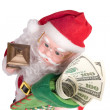 Santa with money — Stock Photo