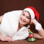 Girl dressed like Santa — Stock Photo