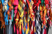 A lot of color shoelaces for footwear — Stockfoto