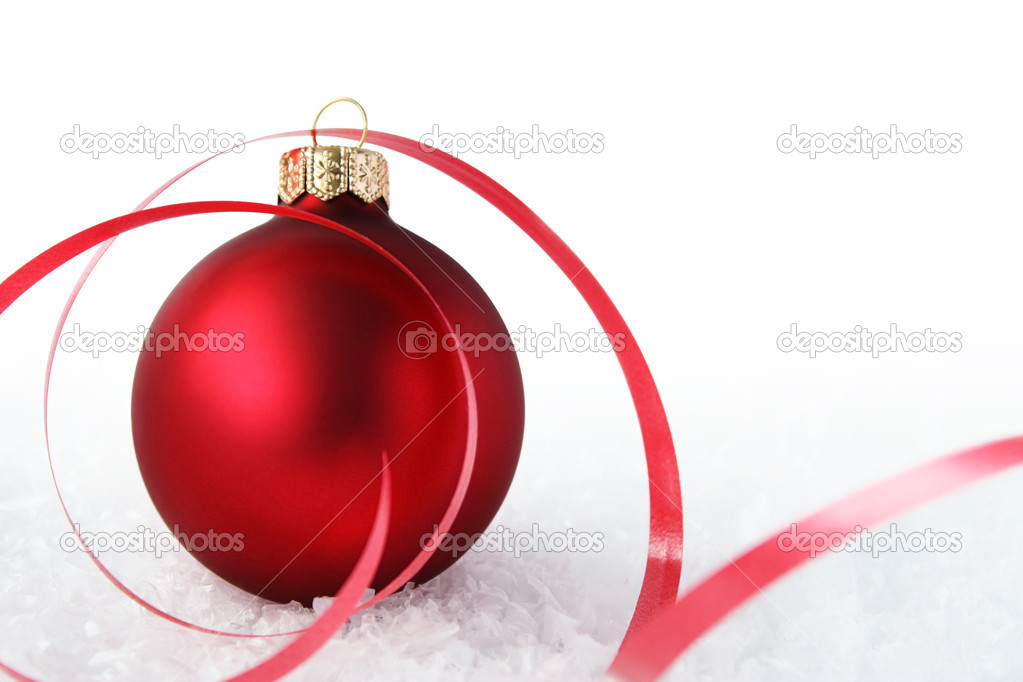 Red Christmas ball with a tape — Stock Photo #1478814