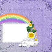 Background with frame and rainbow — Stock Photo