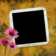 Autumn background with frame and flowers — Stock Photo