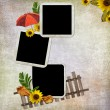 Abstract background with frame and flowe - Stock Photo