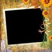 Fondo con marco y flores — Foto de Stock